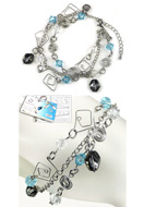 www.snowfall-beads.com - DoubleBeads Jewelry Kit Mazes bracelet, inner size ± 19-26cm, with SWAROVSKI ELEMENTS - E01665