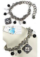www.snowfall-beads.com - DoubleBeads Jewelry Kit Bohemian Rock bracelet, inner size ± 17-25cm, with SWAROVSKI ELEMENTS - E01670