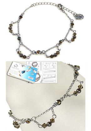 www.snowfall-beads.com - DoubleBeads Jewelry Kit My Fair Lady bracelet, inner size ± 16-24cm, with SWAROVSKI ELEMENTS