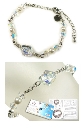 www.snowfall-beads.fr - DoubleBeads Kit de Bijoux Simplicity bracelet, largeur intérieure ± 17-25cm, avec SWAROVSKI ELEMENTS