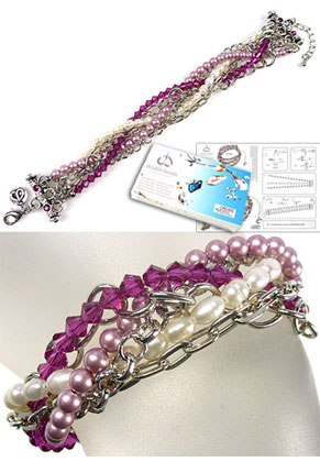 www.snowfall-beads.fr - DoubleBeads Kit de Bijoux Berry Braid bracelet, largeur intérieure ± 18-23cm avec SWAROVSKI ELEMENTS