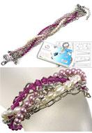 www.snowfall-beads.nl - DoubleBeads Sieradenpakket Berry Braid armband, binnenmaat ± 18-23cm, met SWAROVSKI ELEMENTS - E01718