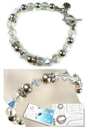 www.snowfall-beads.fr - DoubleBeads Kit de Bijoux Natural Crystal bracelet, largeur intérieure ± 20cm, avec SWAROVSKI ELEMENTS