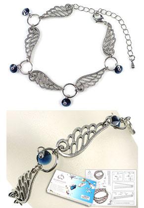 www.snowfall-beads.com - DoubleBeads Jewelry Kit Wings bracelet, inner size ± 17-25cm, with SWAROVSKI ELEMENTS