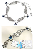 www.snowfall-beads.com - DoubleBeads Jewelry Kit Wings bracelet, inner size ± 17-25cm, with SWAROVSKI ELEMENTS - E01725
