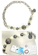 www.snowfall-beads.co.uk - DoubleBeads Jewelry Kit Tiles bracelet stretchable, inner size ± 18cm, with SWAROVSKI ELEMENTS - E01728