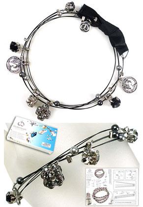 www.snowfall-beads.com - DoubleBeads Jewelry Kit Glam Wire bracelet, inner size ± 21cm, with SWAROVSKI ELEMENTS