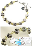 www.snowfall-beads.com - DoubleBeads Jewelry Kit Roses bracelet, inner size ± 20-25cm, with SWAROVSKI ELEMENTS - E01743