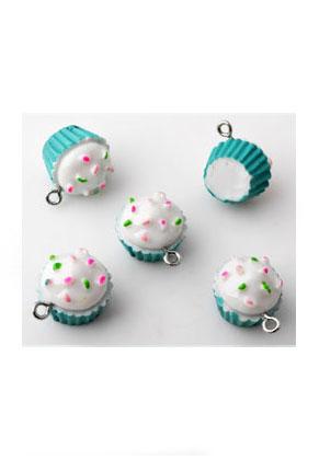 www.snowfall-beads.be - Kunststof hangers/bedels cupcake 20x19mm