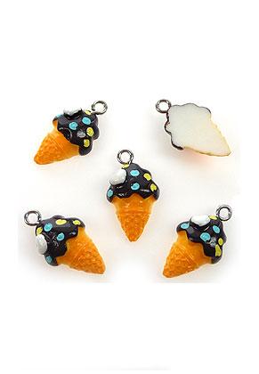 www.snowfall-beads.com - Synthetic pendants/charms ice cream 22x12mm