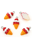 www.snowfall-beads.com - Synthetic pendants/charms ice cream 23x12mm - E01899