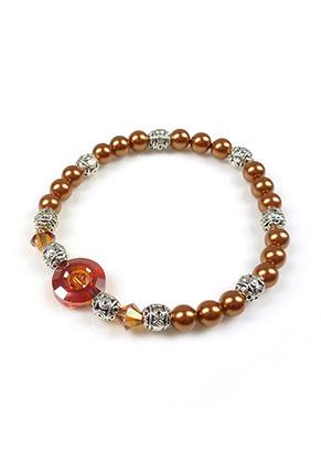 www.snowfall-beads.co.uk - DoubleBeads Mini Jewelry Kit bracelet stretchable, inner size ± 17cm with SWAROVSKI ELEMENTS