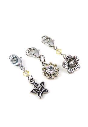 www.snowfall-beads.be - DoubleBeads Mini Sieradenpakket Mix & Match bedels bloemen (set van 3) ± 30-35mm met SWAROVSKI ELEMENTS