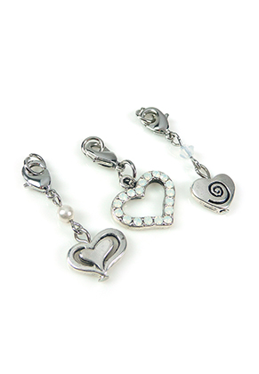 www.snowfall-beads.com - DoubleBeads Mini Jewelry Kit Mix & Match charms hearts (set of 3) ± 34-38mm with SWAROVSKI ELEMENTS