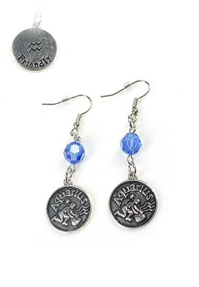 www.snowfall-beads.com - DoubleBeads Mini Jewelry Kit sign of the Zodiac earrings Aquarius ± 6cm with SWAROVSKI ELEMENTS