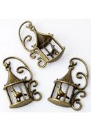 www.snowfall-beads.be - Metalen hangers vogelkooi met vogel 35x20mm - E03206