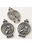 www.snowfall-beads.be - Metalen hangers vogelkooi met vogels 34x20mm - E03210