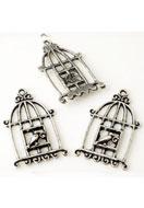 www.snowfall-beads.be - Metalen hangers vogelkooi met vogel 34x20mm - E03211