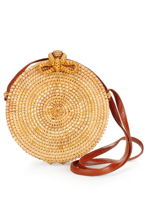 www.snowfall-beads.co.uk - Imitation leather/rattan shoulder bag 20x8cm