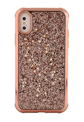 www.snowfall-fashion.co.uk - Synthetic back cover phone case for iPhone X with glitter 14,8x7,6cm