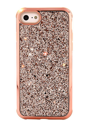 www.snowfall-beads.nl - Kunststof back cover telefoonhoesje voor iPhone 8 met glitters 14,3x7,2cm