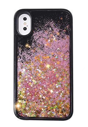 www.snowfall-fashion.nl - Kunststof back cover telefoonhoesje voor iPhone X met glitters 14,7x7,4cm