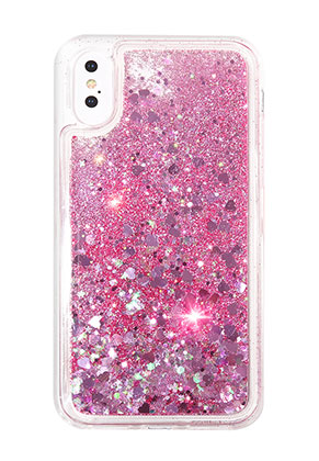 www.snowfall-beads.com - Synthetic phone case for iPhone X with glitter 14,6x7,3cm