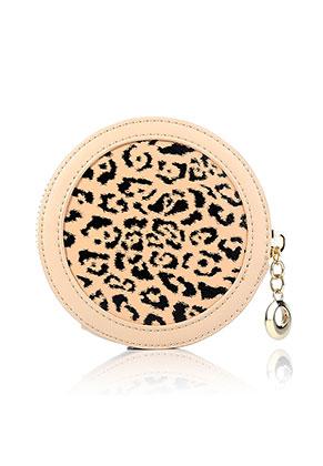 www.snowfall-beads.be - Imitatieleren portemonnee rond met panterprint