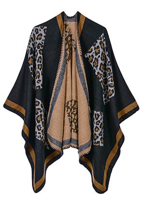 www.snowfall-beads.fr - Poncho ouvert/cape avec imprimé panthère 150x130cm
