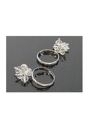 www.snowfall-fashion.co.uk - Metal fingerring, decorated with glass beads (adjustable size >= 14 = 54mm = Ø 17mm)