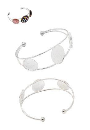 www.snowfall-beads.nl - DoubleBeads metalen cuff armband ± 18,5cm met kastjes voor ± 25x18mm en ± 18mm plakstenen