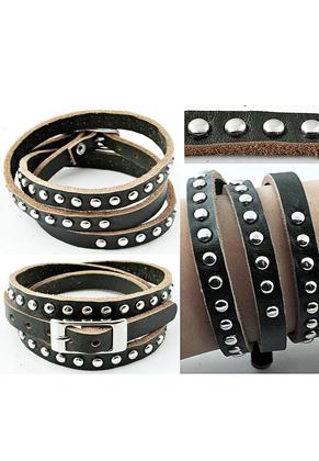 www.snowfall-beads.fr - Bracelet de cuir, 3 double avec studs ± 59cmx8mm, réglable en mesure, largeur intérieure ± 16-18cm