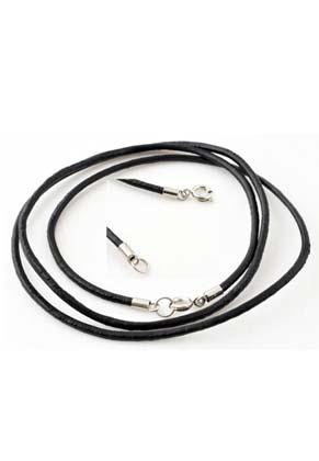 www.snowfall-beads.fr - Collier/bracelet de cuir avec fermoir de métal ± 79cm, ± 2mm gros