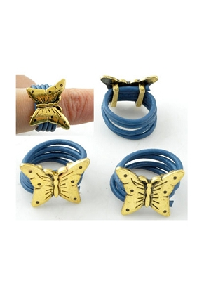 www.snowfall-fashion.co.uk - Leather finger rings with metal slide-bead butterfly ± 24x19x8mm (size 13 = 53mm = Ø 17mm)