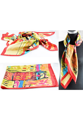 www.snowfall-beads.com - Synthetic (silky) scarf with pattern ± 90x89cm