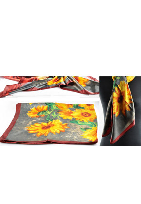 www.snowfall-beads.com - Synthetic (silky) scarf with sunflowers ± 90x89cm