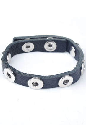 www.snowfall-beads.de - DoubleBeads EasyButton Lederarmband mit Metall ± 22,5x1cm, verstellbar ± 19-21cm (geeignet für DoubleBeads EasyButton Mini Druckknöpfe)