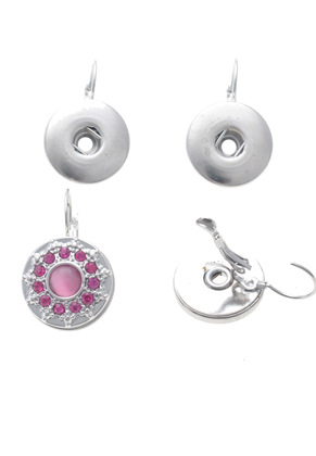 www.snowfall-beads.com -  DoubleBeads EasyButton metal snap earrings ± 31x19mm (suitable for DoubleBeads EasyButton press studs)