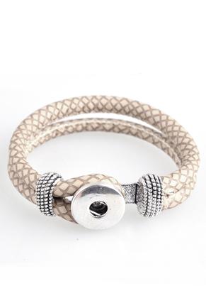 www.snowfall-beads.de - DoubleBeads EasyButton Kunstlederarmband, Innermaß ± 19cm