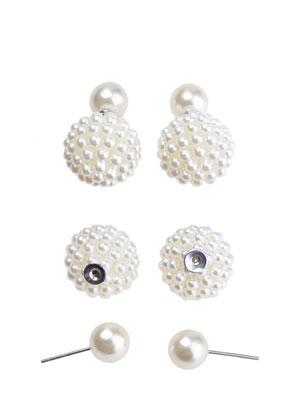 Doppel Perlen Ohrstecker 23x15mm