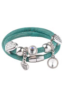 www.snowfall-beads.com - Imitation leather bracelet double with metal charms and slide-beads 20cm - J03490