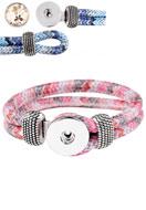 www.snowfall-fashion.fr - DoubleBeads EasyButton bracelet en cuir artificiel, largeur intérieure ± 19cm - J03559