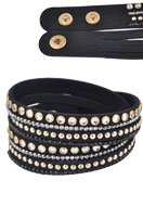 www.snowfall-fashion.fr - Bracelet wrap en daim artificiel avec strass 17-19cm - J03580