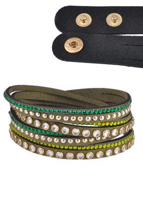 www.snowfall-beads.fr - Bracelet wrap en daim artificiel avec strass 17-19cm