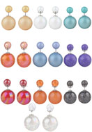 www.snowfall-beads.nl - Mix dubbele parel oorbellen 27x16mm - J03632