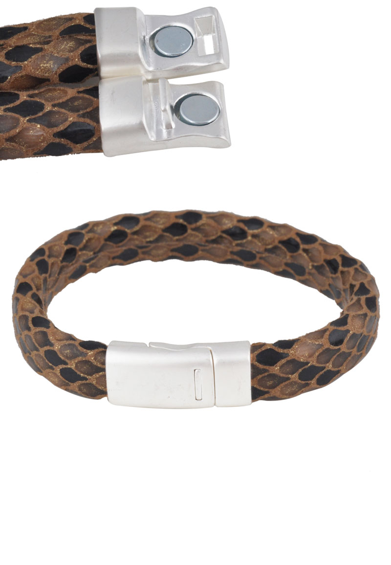 bracelet clasps for leather imitation leather bracelet with magnetic clasp 21cm 8295