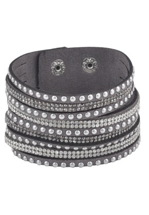 www.snowfall-beads.com - Imitation suede wrap bracelet with strass 17-20cm