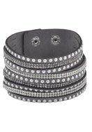 www.snowfall-beads.com - Imitation suede wrap bracelet with strass 17-20cm - J03654