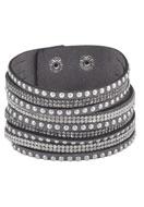 www.snowfall-beads.de - Kunstwildleder Wickelarmband mit Strass 17-20cm - J03654