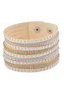 www.snowfall-beads.nl - Kunstsuede wikkelarmband met strass 17-20cm - J03655